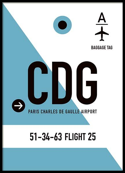 CDG Paris Poster in the group Posters & Prints / Maps & cities at Desenio AB (10003)