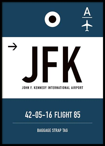 JFK New York Poster in the group Posters & Prints / Maps & cities at Desenio AB (10006)