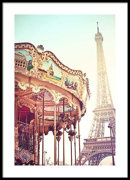 Eiffel Tower Carousel Poster
