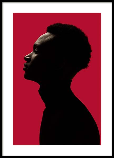 Man Silhouette On Red No1 Poster in the group Posters & Prints / Photography at Desenio AB (10111)