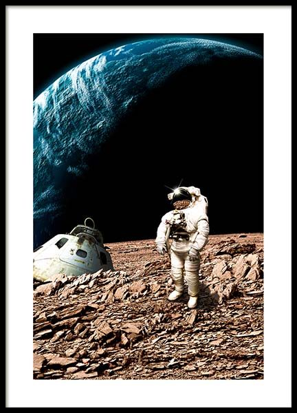 Astronaut On Moon Poster in the group Posters & Prints / Kids posters at Desenio AB (10117)
