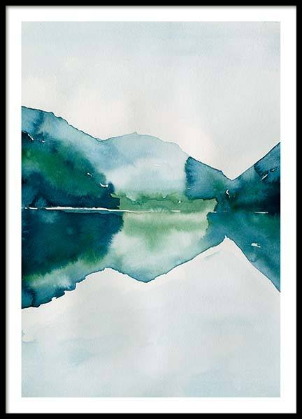 Watercolor Mountain Reflection Poster in the group Posters & Prints / Art prints at Desenio AB (10123)