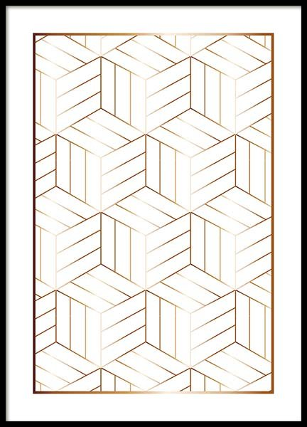 Cubes Pattern Poster in the group Posters & Prints / Gold & silver at Desenio AB (10150)