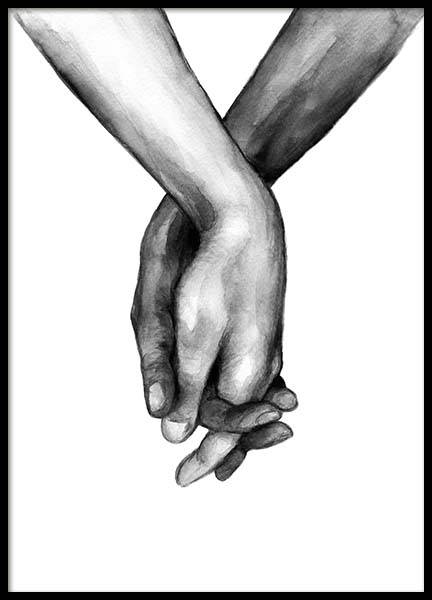 Watercolor Hands No1 Poster in the group Posters & Prints / Black & white at Desenio AB (10201)
