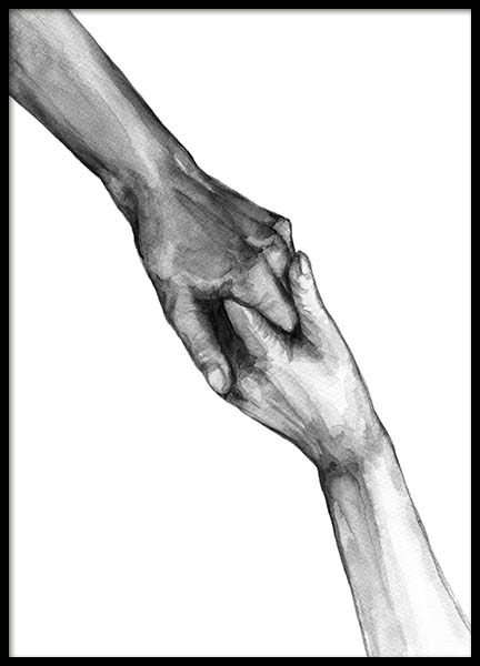 Watercolor Hands No2 Poster in the group Posters & Prints / Black & white at Desenio AB (10202)
