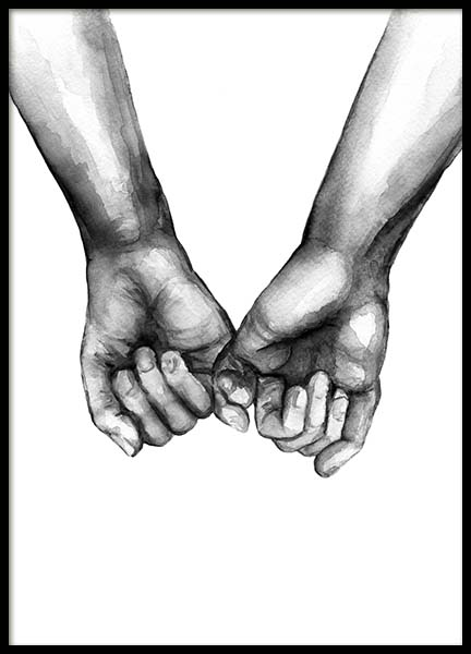 Watercolor Hands No3 Poster in the group Posters & Prints / Black & white at Desenio AB (10203)