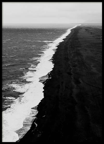 Black Beach Aerial Poster in the group Posters & Prints / Black & white at Desenio AB (10237)
