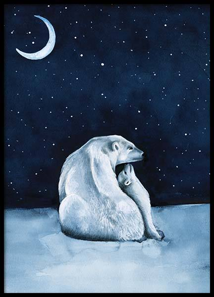 Polar Bear Night Sky Poster in the group Posters & Prints / Kids posters at Desenio AB (10275)