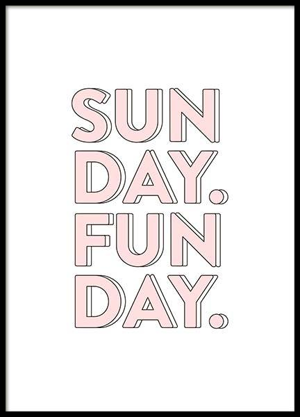 Sunday Funday Poster in the group Posters & Prints / Typography & quotes at Desenio AB (10309)