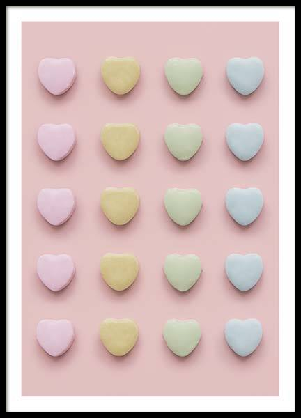 Candy Hearts Poster in the group Posters & Prints / Kids posters at Desenio AB (10343)