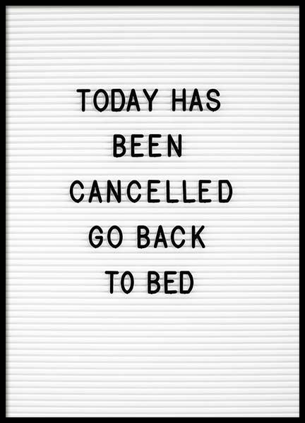 Go Back To Bed Poster in the group Posters & Prints / Text posters at Desenio AB (10359)