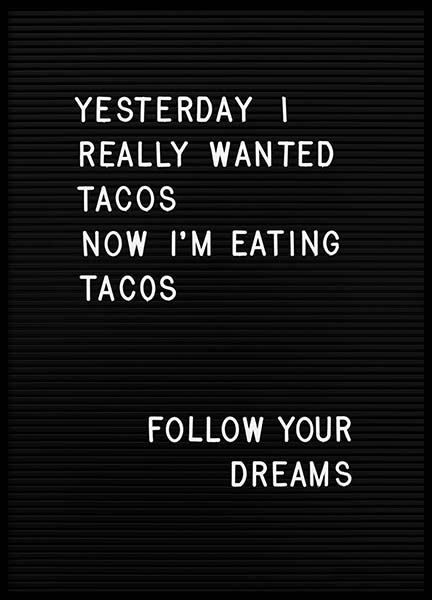 Taco Dreams Poster in the group Posters & Prints / Text posters at Desenio AB (10361)