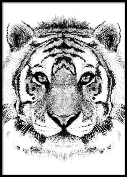 Lion Face Poster in the group Posters & Prints / Black & white at Desenio AB (10498)