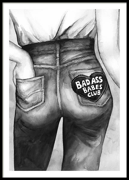 Bad Ass Babes Club Poster in the group Posters & Prints / Illustrations at Desenio AB (10545)