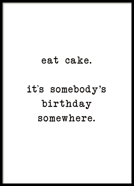 Eat Cake Poster in the group Posters & Prints / Text posters at Desenio AB (10622)