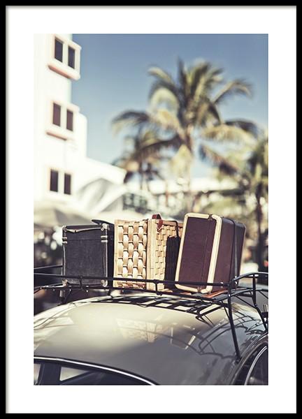 Vintage Travel Car Poster