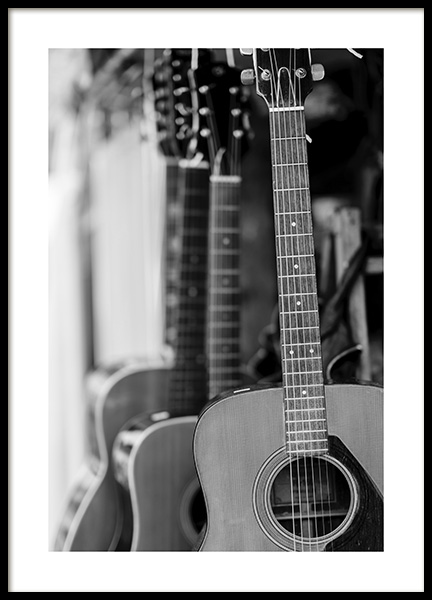 Guitar Poster in the group Posters & Prints / Black & white at Desenio AB (10717)