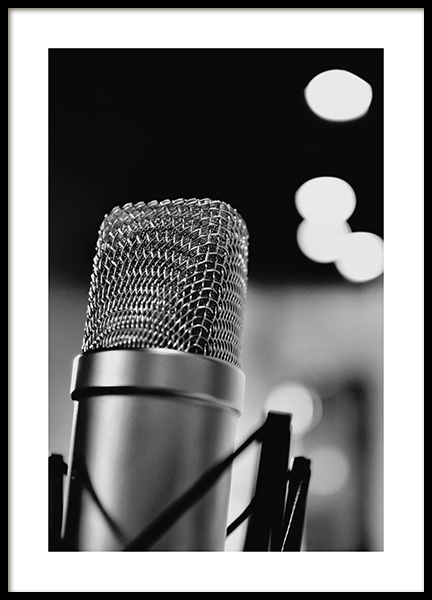 The Microphone Poster in the group Posters & Prints / Black & white at Desenio AB (10719)