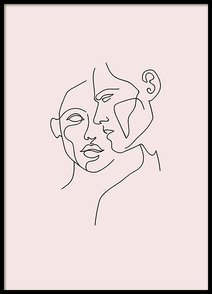 Faces No2 Pink Poster in the group Posters & Prints / Illustrations at Desenio AB (10749)