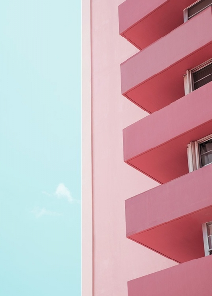 Pink Balconies Poster in the group Studio Collections / Studio Coast to Coast / Miami at Desenio AB (10770)