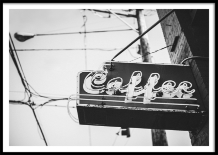 Coffee Sign Poster in the group Posters & Prints / Black & white at Desenio AB (10821)