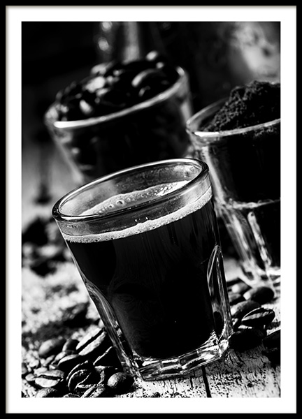 Glass of Coffee Poster in the group Posters & Prints / Black & white at Desenio AB (10825)
