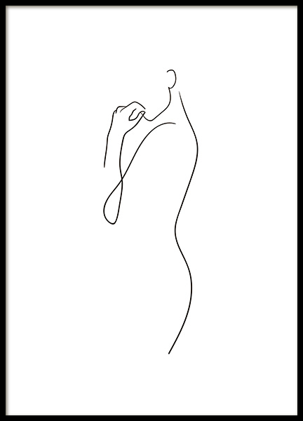 Curve Line Art Poster in the group Posters & Prints / Black & white at Desenio AB (10837)