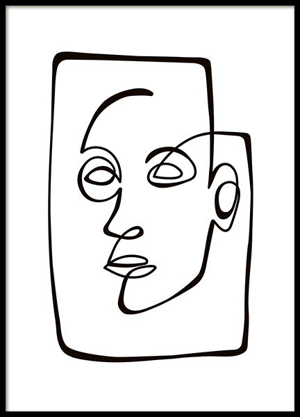Abstract Line Portrait Poster in the group Posters & Prints / Illustrations at Desenio AB (10838)