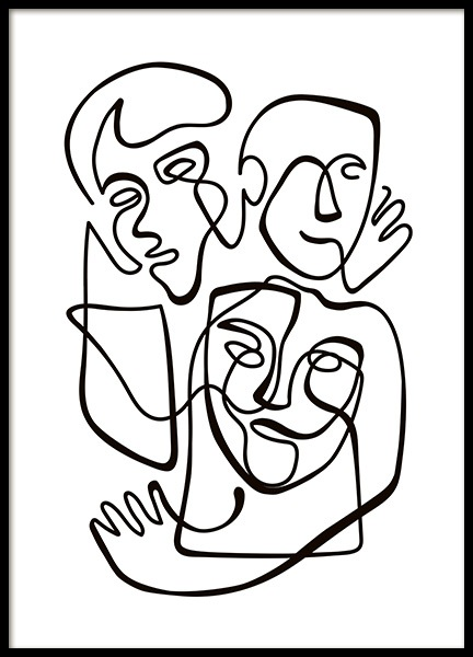 Abstract Line People No1 Poster in the group Posters & Prints / Black & white at Desenio AB (10840)