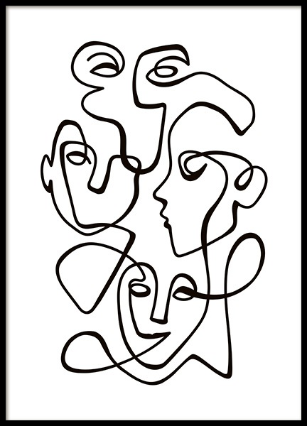 Abstract Line People No2 Poster in the group Posters & Prints / Black & white at Desenio AB (10841)