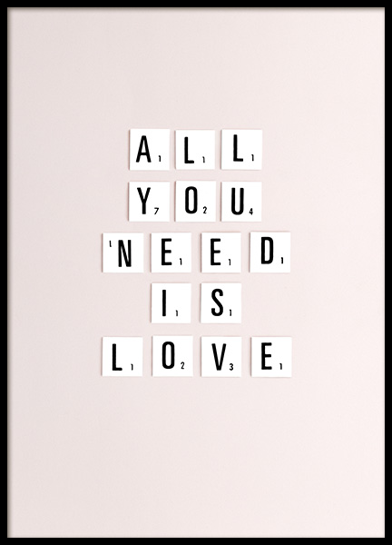All You Need Is Love Poster in the group Posters & Prints / Typography & quotes at Desenio AB (10862)
