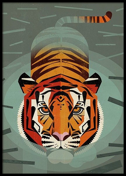 Vintage Tiger Poster in the group Posters & Prints / Insects & animals at Desenio AB (11029)