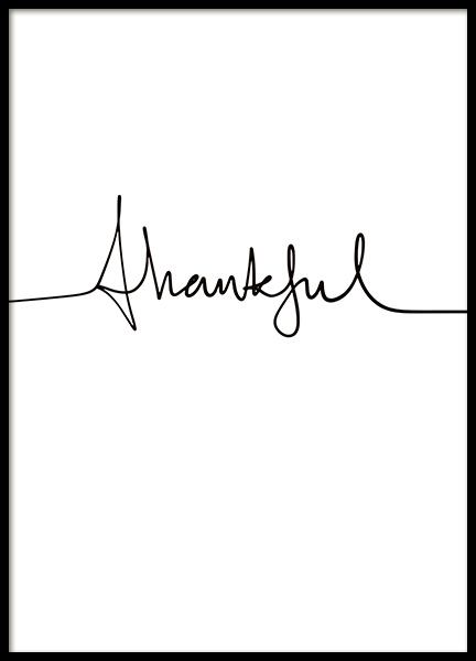 Thankful Handwriting Poster in the group Posters & Prints / Text posters at Desenio AB (11129)