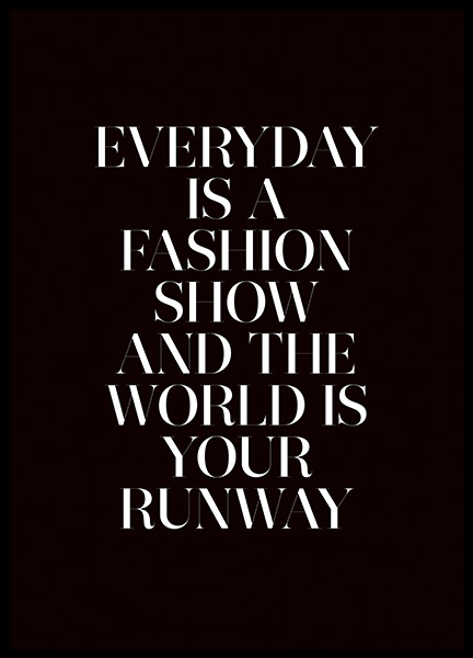 The World is Your Runway Poster in the group Posters & Prints / Typography & quotes at Desenio AB (11139)