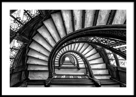 Circular Staircase Poster in the group Posters & Prints / Black & white at Desenio AB (11270)