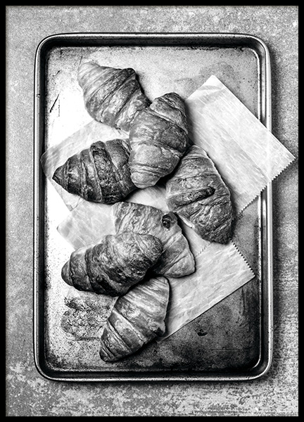 Croissants On Tray Poster in the group Posters & Prints / Black & white at Desenio AB (11273)