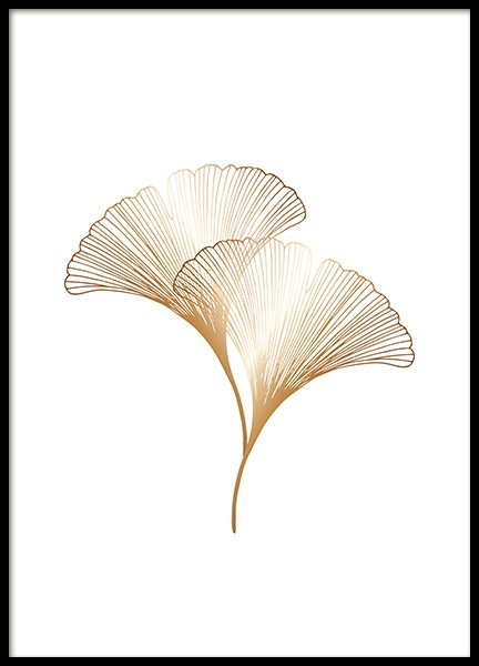 Ginkgo Leaves Gold Poster