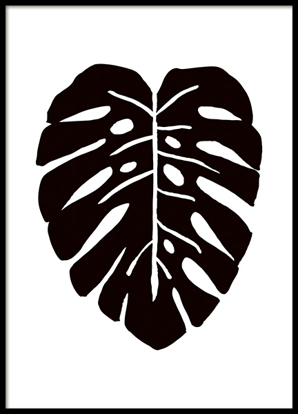 Monstera Ink Drawing Black Poster in the group Posters & Prints / Art prints at Desenio AB (11305)
