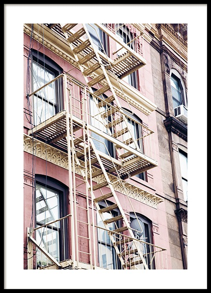 Pink Fire Escape Poster in the group Studio Collections / Studio Cosmopolitan / New York at Desenio AB (11320)