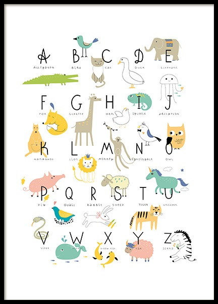 Animal Alphabet Poster in the group Posters & Prints / Kids posters at Desenio AB (11381)