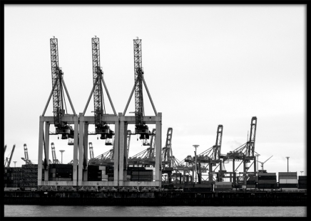 Port of Hamburg Poster in the group Posters & Prints / Black & white at Desenio AB (11394)