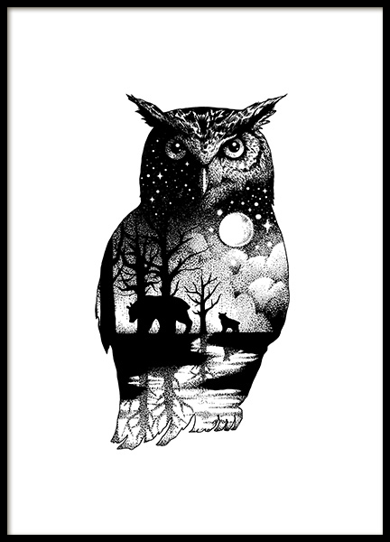 Ink Dot Owl Poster in the group Posters & Prints / Illustrations at Desenio AB (11418)