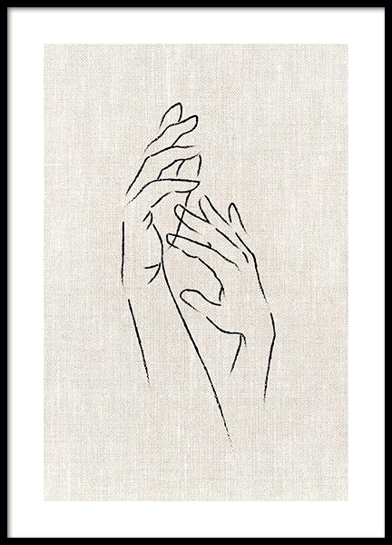 Texture Line Hands Poster