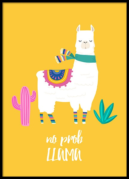No Prob Llama Poster in the group Posters & Prints / Kids posters at Desenio AB (11448)