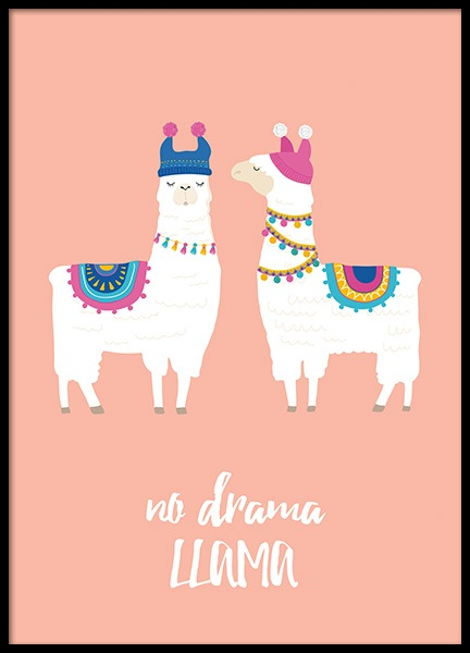 No Drama Llama Poster in the group Posters & Prints / Kids posters at Desenio AB (11449)