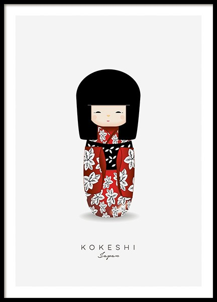 Kokeshi Doll Red Poster in the group Posters & Prints / Kids posters at Desenio AB (11454)