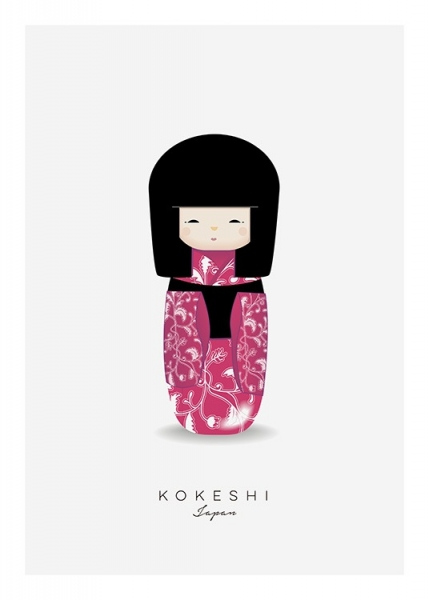 Kokeshi Doll Pink Poster in the group Posters & Prints / Kids posters at Desenio AB (11456)