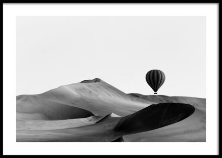 Hot Air Balloon Over Dunes Poster