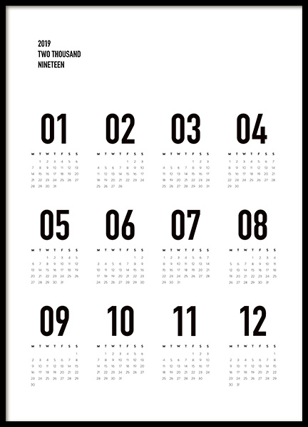 Calendar 2019 B&W Poster in the group Posters & Prints / Typography & quotes at Desenio AB (11514)