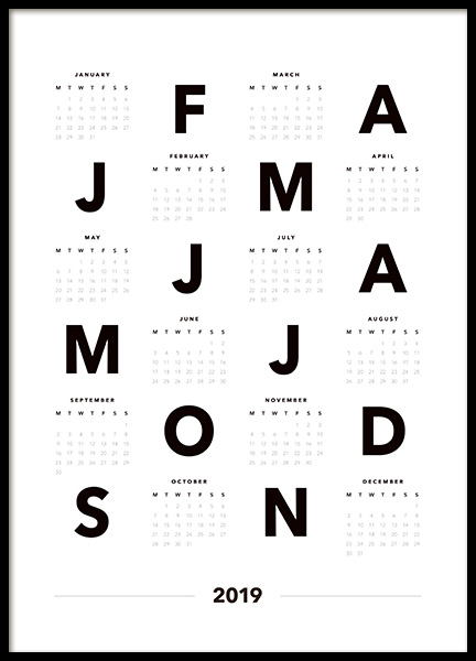 Calendar 2019 Letters Poster in the group Posters & Prints / Typography & quotes at Desenio AB (11515)